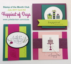 Stampin' Up! Happiest of Days Birthday Card Kit ~ July 2017 Stamp of the Month Club ~ www.juliedavison.com/clubs