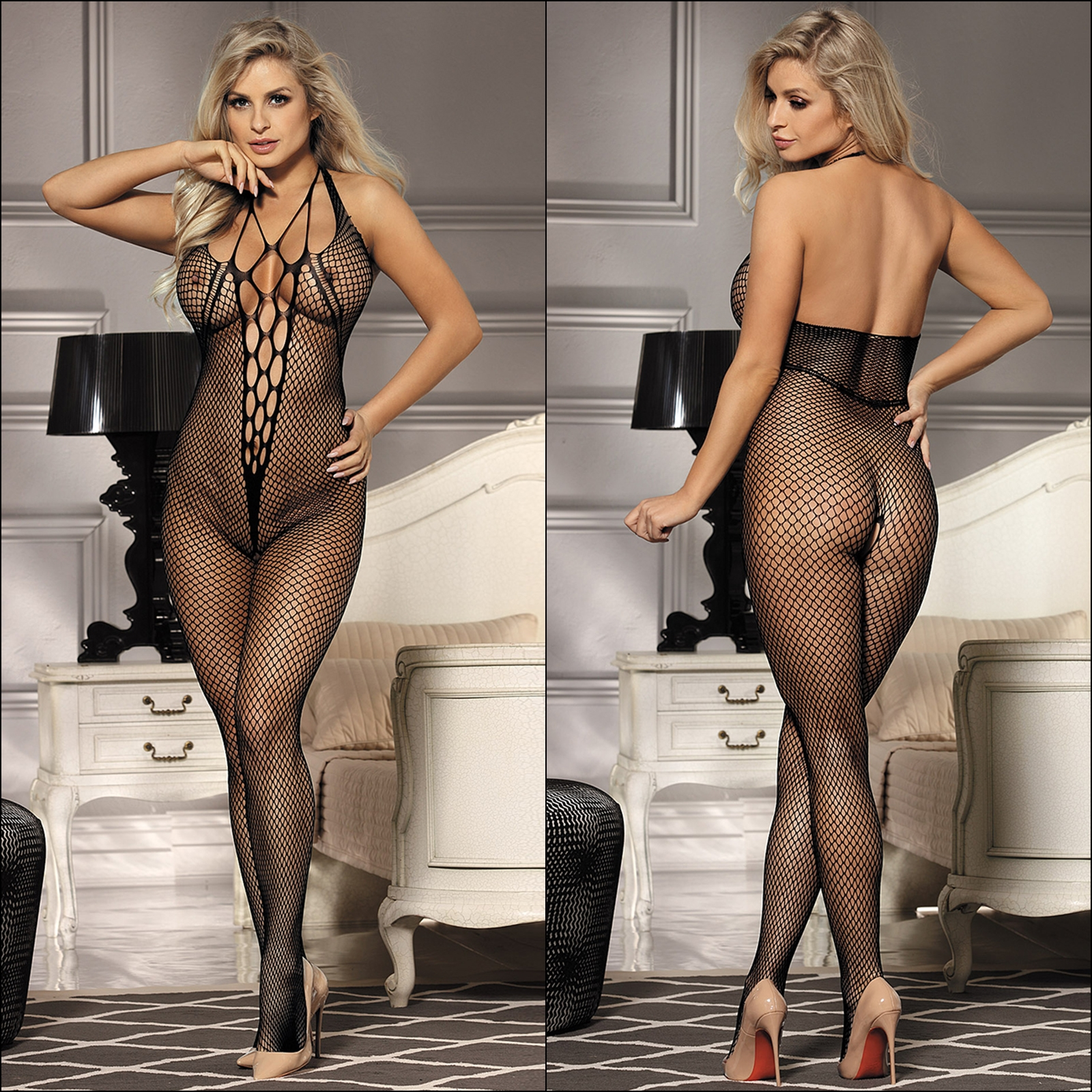 Teen In A Fishnet Bodysuit Has Her Butthole Nailed Filled With Creamy Jizz