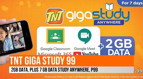 TNT GIGA Study 99, 2GB data, + 7 GB data STUDY ANYWHERE, P99