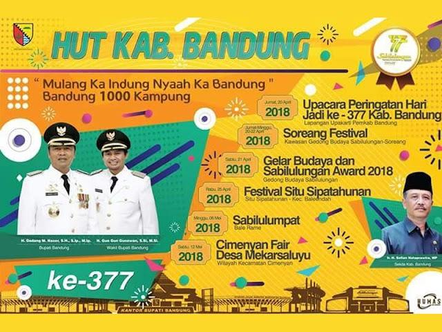 Inilah Rangkaian Acara Hari Jadi Ke-377 Kabupaten Bandung Tahun 2018
