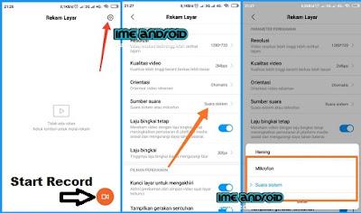 Rekam layar hp Xiaomi redmi dengan suara internal