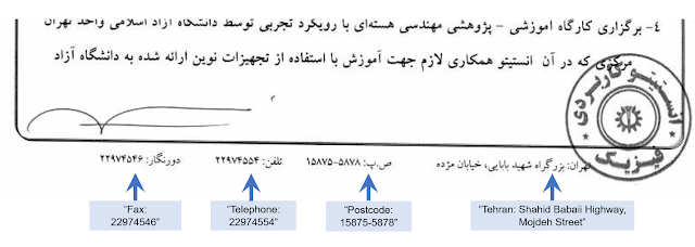 Institute of Applied Physics or IAP uses same addresses, phone and fax numbers as Iranian defense nuclear research organization SPND proving that it is a front or cover for SPND