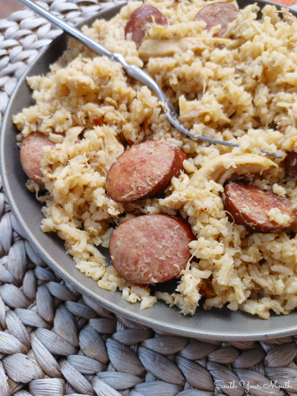 Carolina Chicken Bog! A one-pot recipe of rice, chicken and smoked sausage cooked in a flavorful stock made from slow-cooked chicken. Includes bonus instructions for making a BIG BATCH with 6 cups of rice.