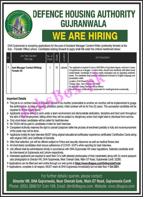 https://www.dhagwa.com/OnlineJobsPortal - DHA Defence Housing Authority Gujranwala Jobs 2021 in Pakistan