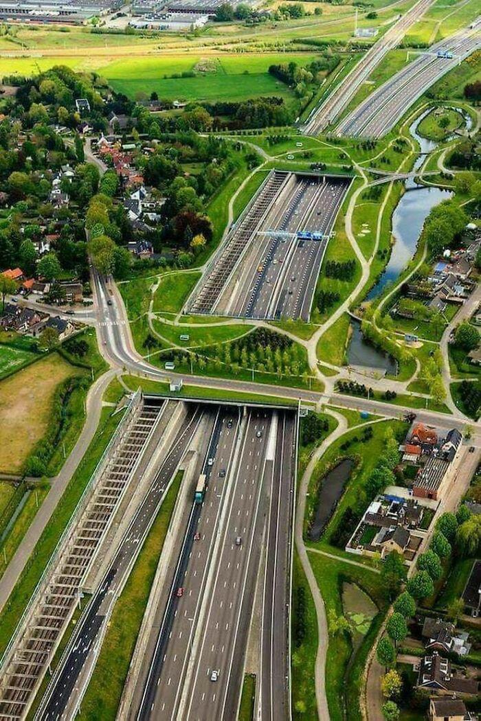 Ecodukes, railways, highways, roads, footpaths. City of Breda, Netherlands