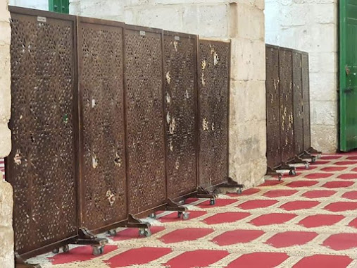 """The wooden panel separators in the mosque were hit  This shows you how far the bullets went inside """"Al-Aqsa Mosque"""""""