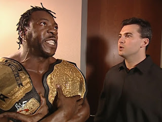 WWE/ WWF Invasion 2001 - Shane McMahon psyches up WCW US and World Champion Booker T