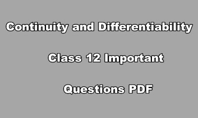 Continuity and Differentiability Class 12 Important Questions PDF
