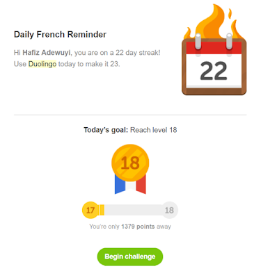 Duolingo daily French reminder email