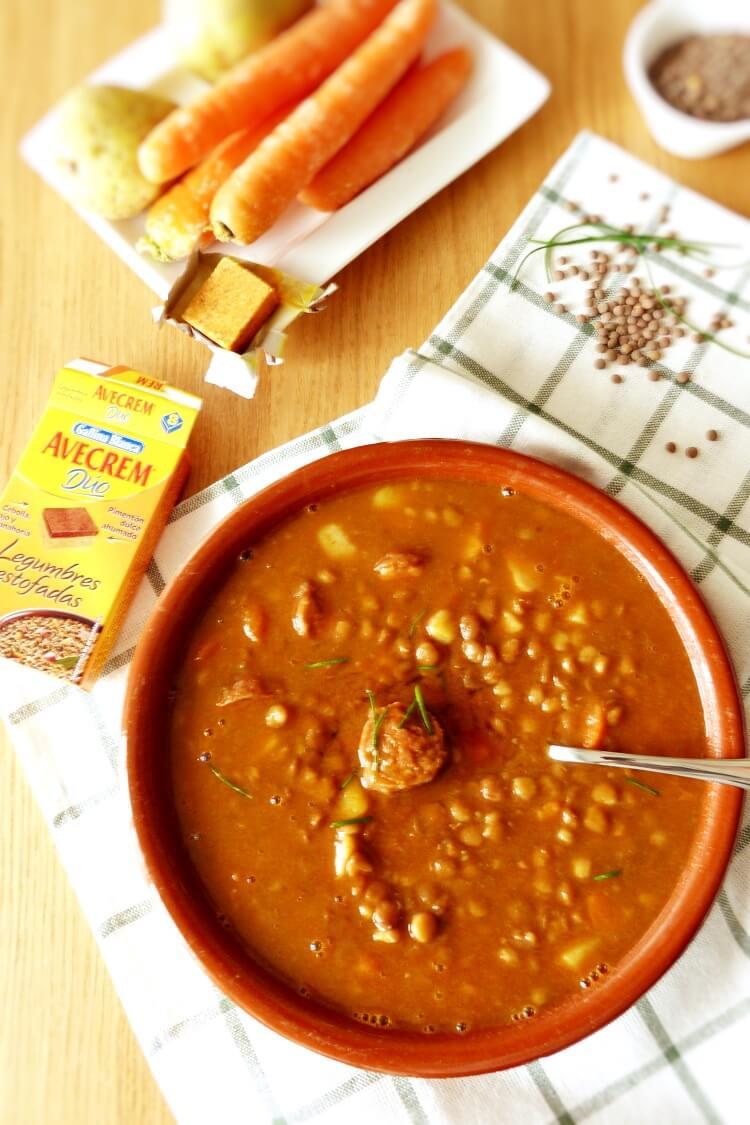 receta de lentejas estofadas en olla rápida con avecrem dúo legumbres estofadas