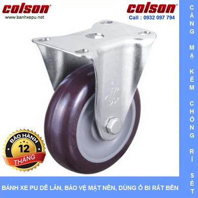 Bánh xe nhựa PU phi 125 - 5 inch chịu tải trọng 122kg | S2-5258-95P www.banhxedayhang.net