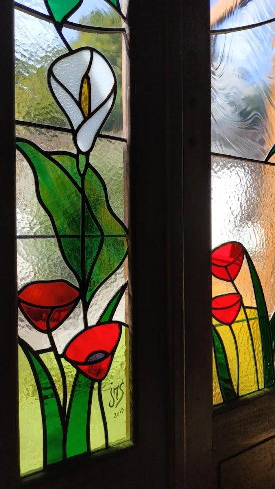 vitrail porte intérieure détail
