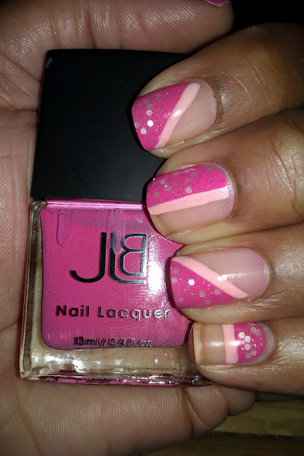 Pink, tape mani, striping, glitter, O.P.I., Pirouette My Whistle, nail art, design, mani