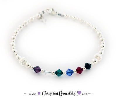 Small Crystal Salvation Bracelet with a Tiny Cross Charm