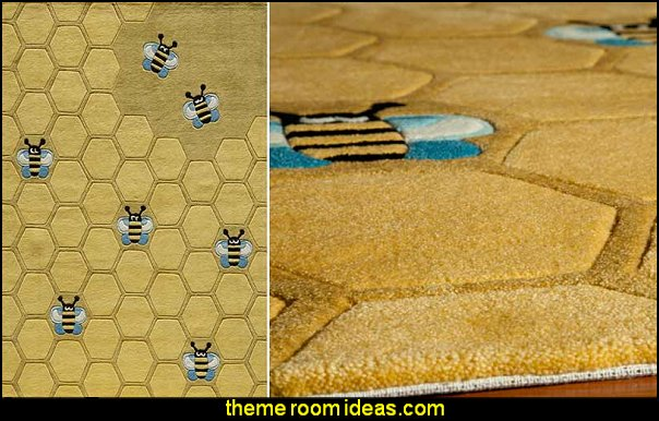 Honeycomb Rug  bumble bee bedrooms - Bumble bee decor - Honey bee decor - decorating bumble bee home decor - Bumble Bee themed nursery - bee wallpaper mural decals - Honeycomb Stencil - hexagonal stencils - bees in springtime garden bedroom -  bee themed nursery - black yellow bedroom ideas - Hexagon pattern -