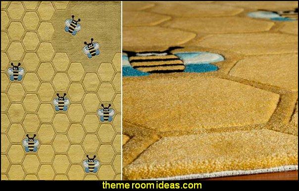 Honeycomb Rug  bumble bee bedrooms - Bumble bee decor - Honey bee decor - decorating bumble bee home decor - Bumble Bee themed nursery - bee wallpaper mural decals - Honeycomb Stencil - hexagonal stencils - bees in springtime garden bedroom -  bee themed nursery - black yellow bedroom ideas - Hexagon pattern -