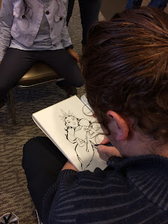 A Caricature Artist drawing a girl as a princess