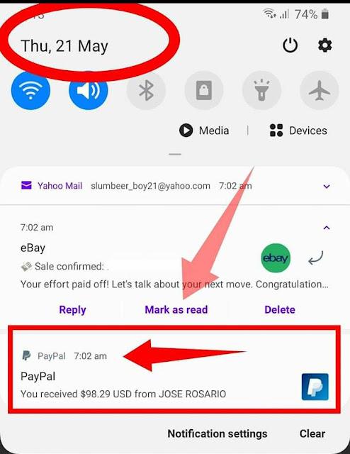 Contoh email notifikasi pendapatan terkini yang diperolehi daripada ebay