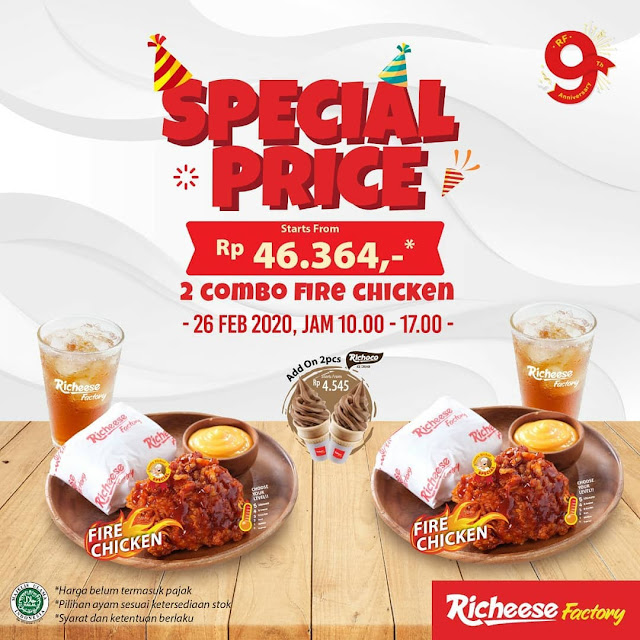 #RicheeseFactory - #Promo Special Price 2 Combo Fire Chicken Start 46K (s.d 26 Feb 2020)