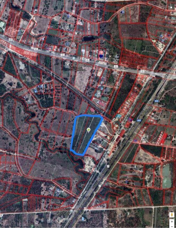 ขายที่ดิน ชะอำ-หัวหิน เพชรบุรี 2 โฉนดรวมกัน เป็นแปลงใหญ่รูป ทรงอิสระ ที่ดินถมแล้ว ระดับเดียวกับถนน