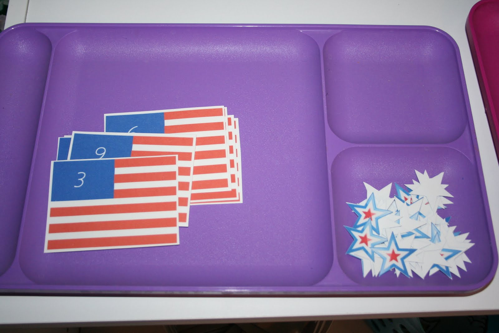 U.S. Flag Cards and Counters (Photo from Our Country Road)