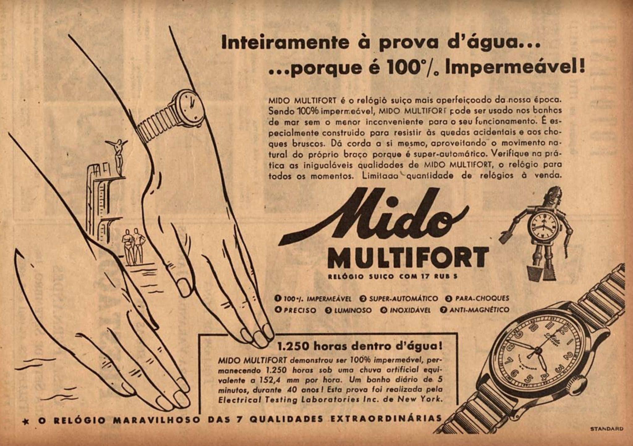 Anúncio antigo relógio suíço Mido Multifort apresentado em 1946