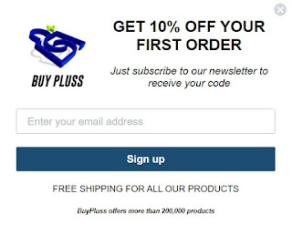 Ten percent off offer posted on Canadian Senior Savings for buy pluss: text reads- Sign up for our newletter and get 10% off your first order Free shipping on all orders. We have over 200,000 items in stock