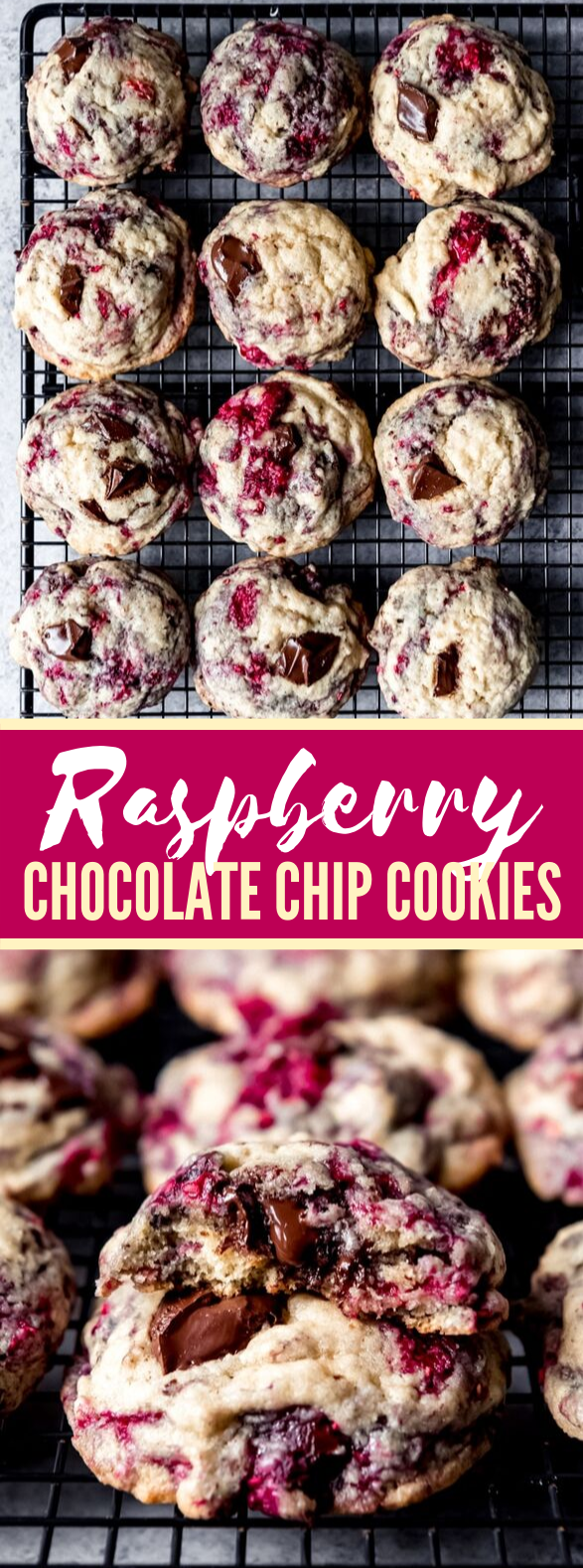 RASPBERRY CHOCOLATE CHUNK COOKIES #desserts #sweets