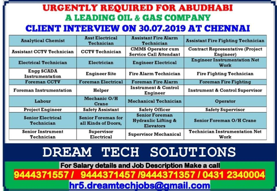 UAE JOBS : URGENTLY REQUIRED FOR OIL AND GAS PROJECT IN