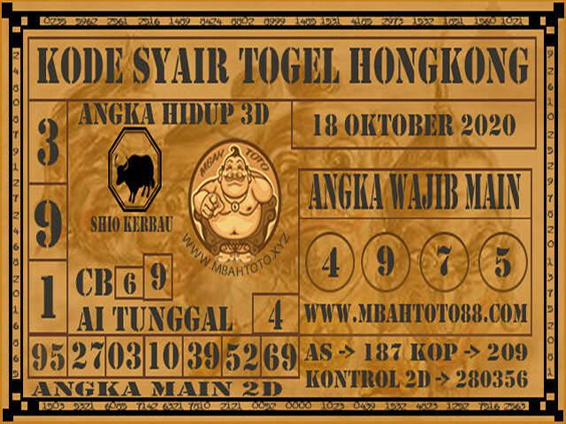 Kode syair Hongkong Minggu 18 Oktober 2020 181