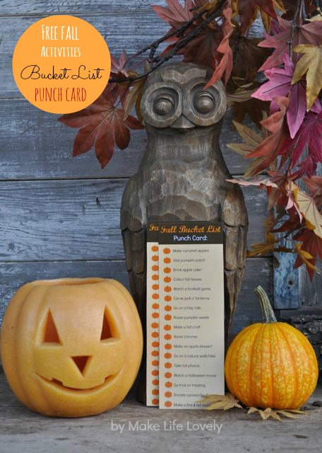 Fall activites bucket list punch card.  GREAT idea!!