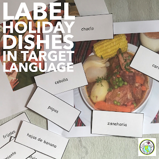 Label holiday dishes in target language for Cultural integration Christmas