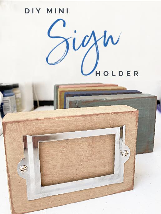 wooden sign holder and Pinterest overlay