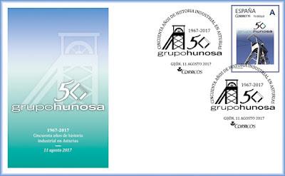 Sobre del matasellos del 50 aniversario de HUNOSA