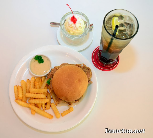Set E Candy Cooler Combo - Chicken Burger with fries, single scoop of ice-cream and iced lemon tea