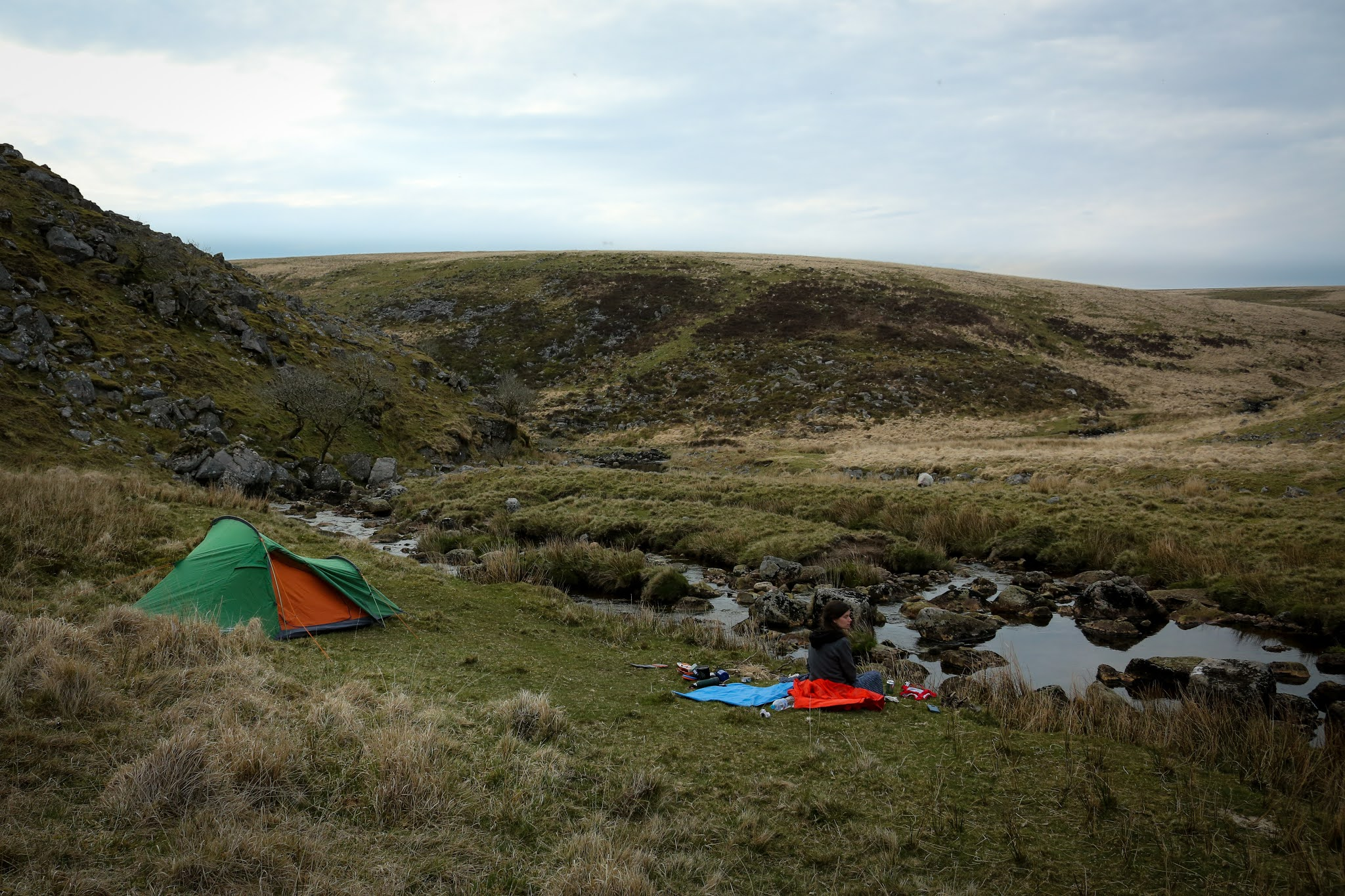 Wild camping by a river in Dartmoor