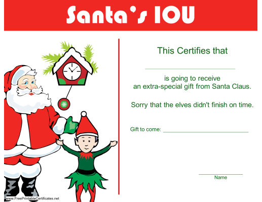 Discovery – Christmas IOU Printable Certificate Template ...