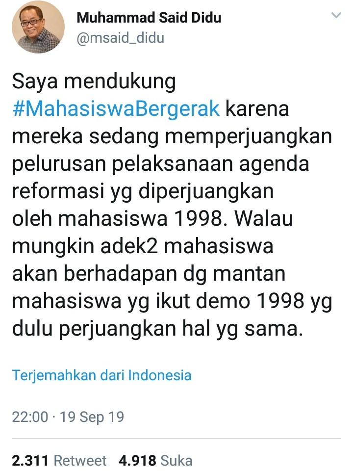 Dukung #MahasiswaBergerak, Said Didu: Mereka Perjuangkan Reformsi 98