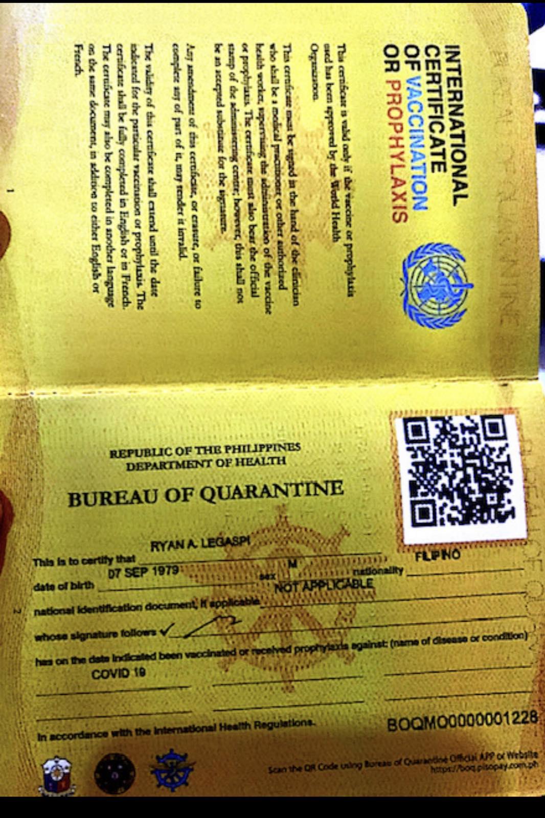 BOQ COVID19 Yellow Vaccine Card Bureau of Quarantine Philippines