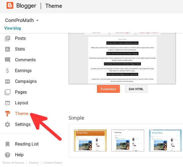 Showing Theme instead of Template Option Blogger