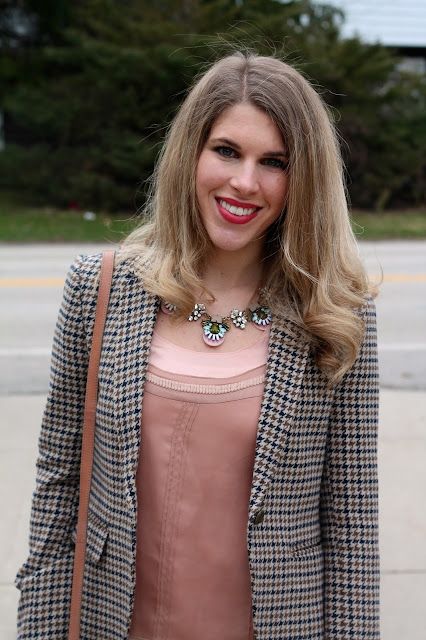 blush top, tweed blazer, burgundy pants, blush bag, bow flats, work outfit