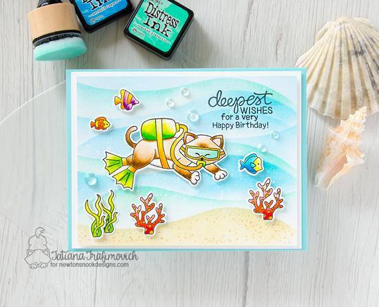 Scuba Diving Cat Card by Tatiana Trafimovich | Scuba Newton Stamp Set and Hills & Grass Stencil by Newton's Nook Designs #newtonsnook #handmade