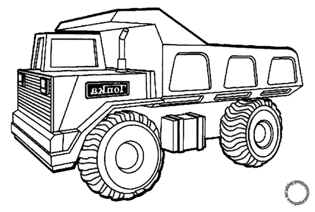Gambar Mewarnai Mobil Truck Untuk Anak