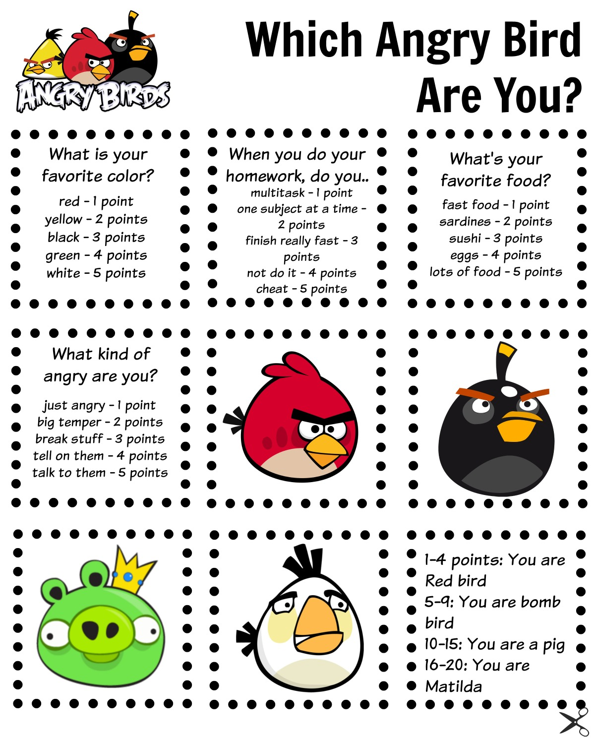 image relating to Angry Birds Printable identified as Minute Options Woman - a Miami spouse and children and daily life blog site