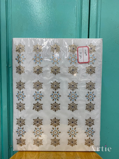 Hotfix stickers dmc rhinestone aplikasi tudung bawal fabrik pakaian bunga hexagon 3 bentuk biru gold
