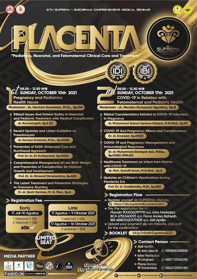 "(SKP IDI, SKP IBI) SUPREMA 2021 ""PLACENTA : Pediatric, Neonatal and Fetomaternal Clinical Care and Treatment"""