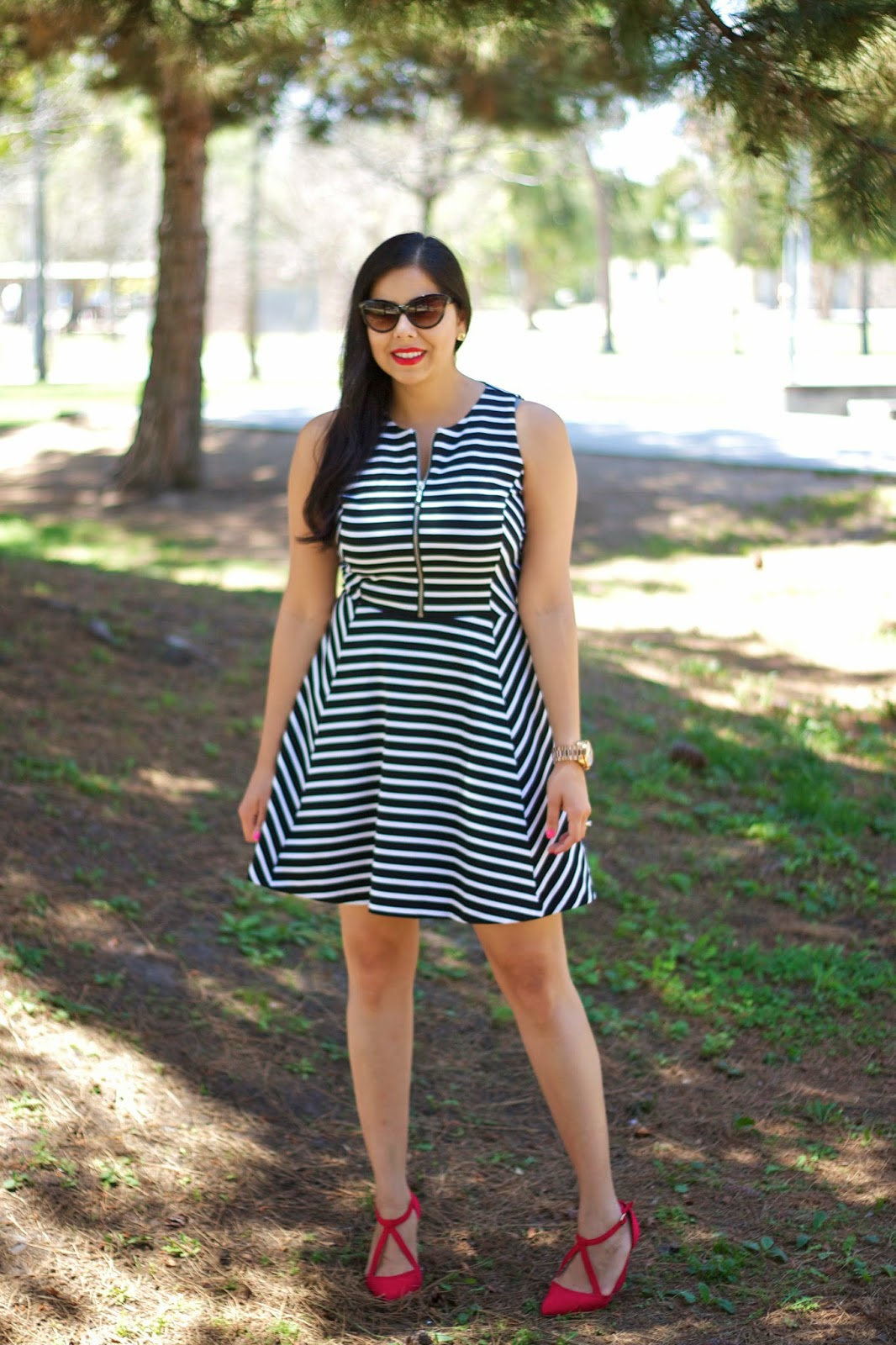 Marshalls striped dress, michael kors striped dress, striped dress with illusion, zippered dress