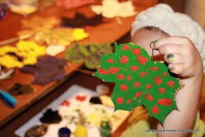 творчество с детьми, раскрашиваем осенние листья, осеннее творчество с детьми