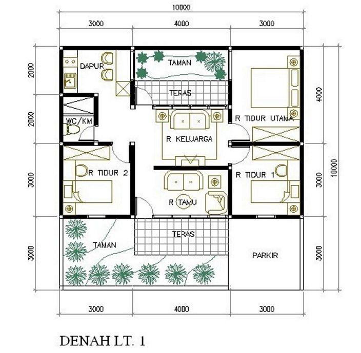 denah rumah minimalis 5 kamar tidur terlihat minimalis