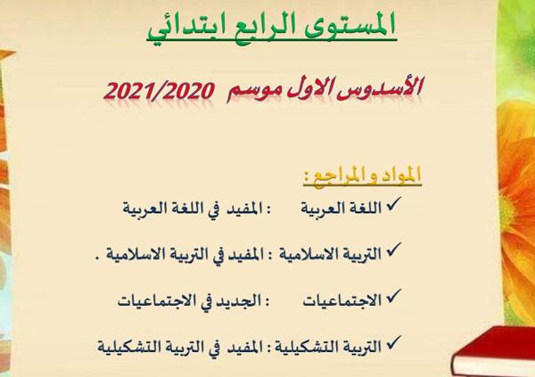 فروض اللغة العربية المرحلة الأولى للمستوى الرابع 2020-2021